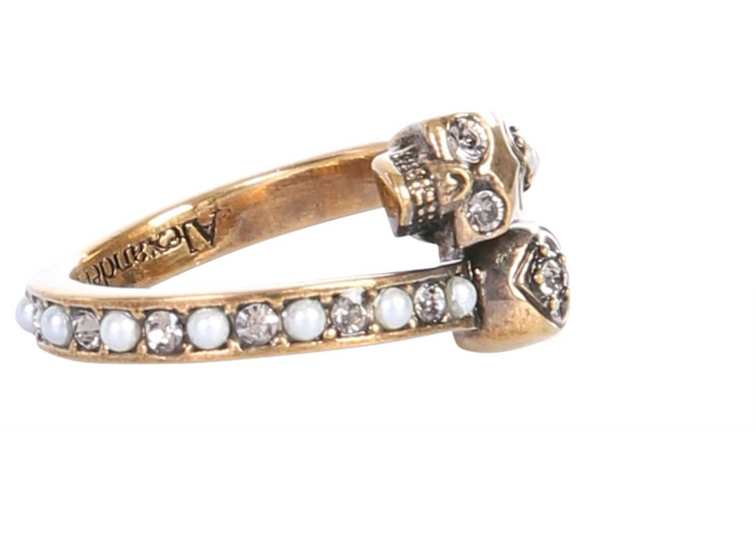 Alexander McQueen Twin Skull Ring GOLD