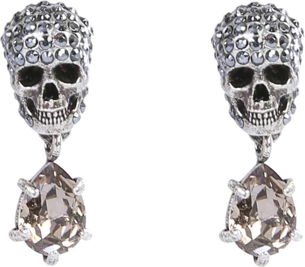 Alexander McQueen Skull Stone Earrings SILVER