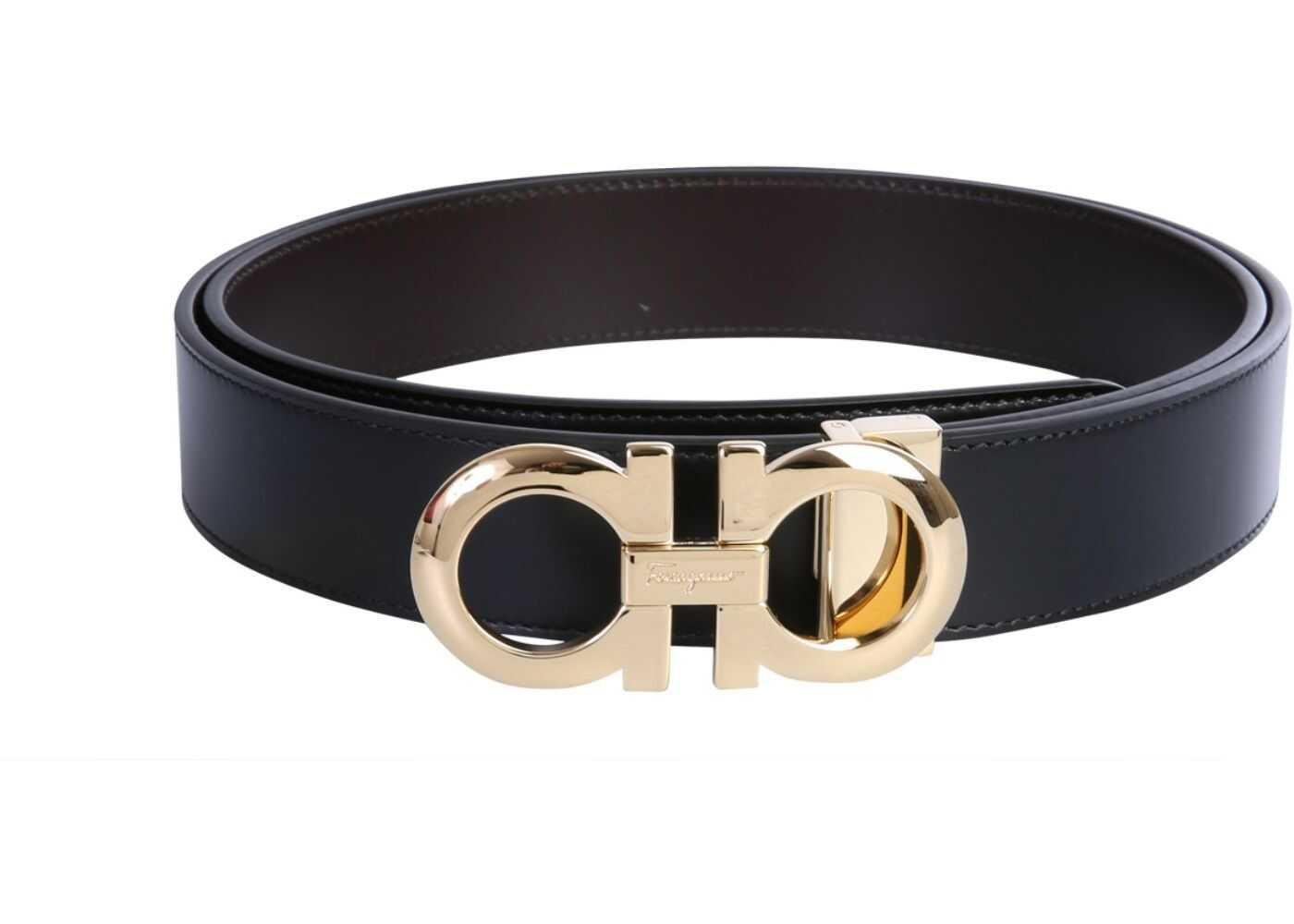 Salvatore Ferragamo Reversible Double Hook Belt BLACK