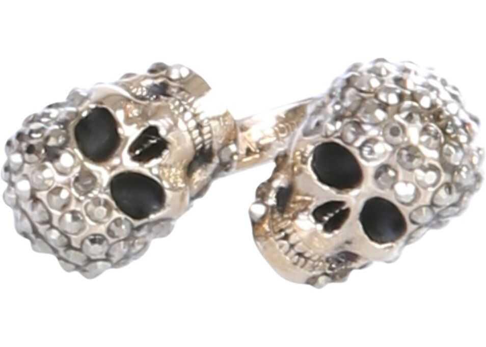 Alexander McQueen Twin Skull Ring GREY