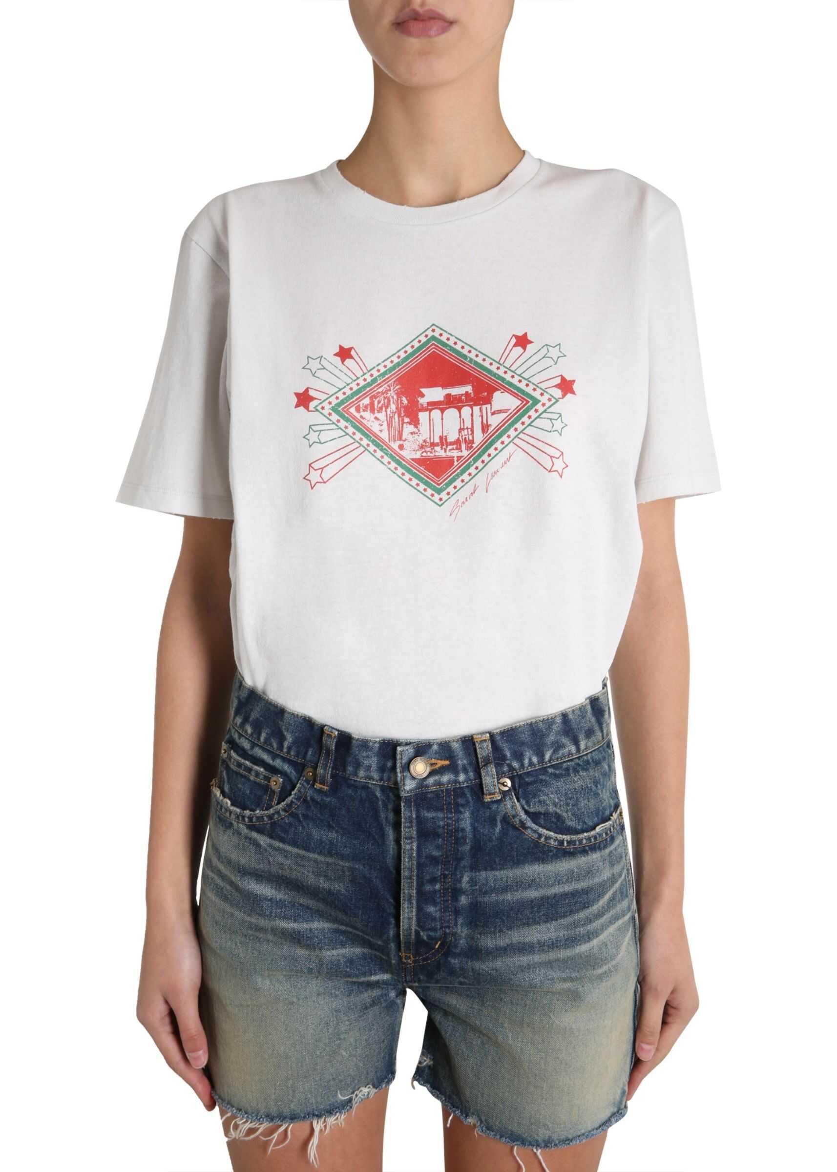 Saint Laurent Round Neck T-Shirt POWDER