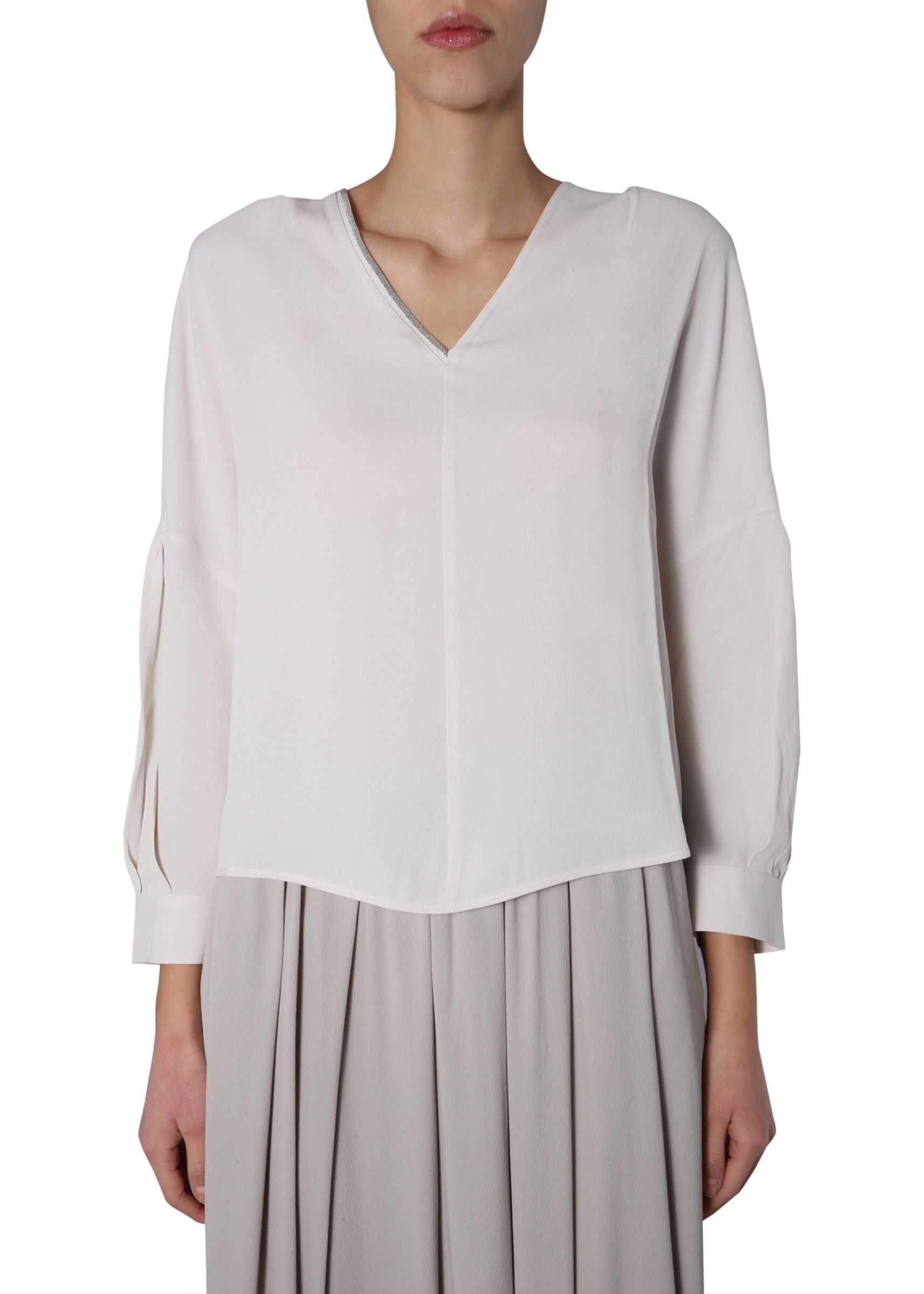 Fabiana Filippi V-Neck Shirt WHITE
