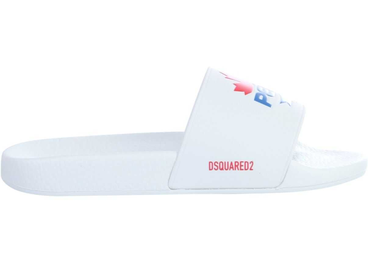 DSQUARED2 Slide Sandal With Pepsi Logo WHITE