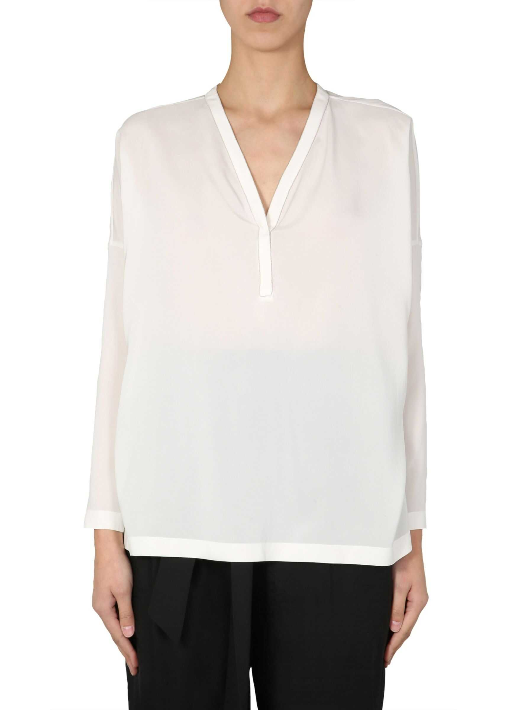 Brunello Cucinelli V-Neck Blouse WHITE