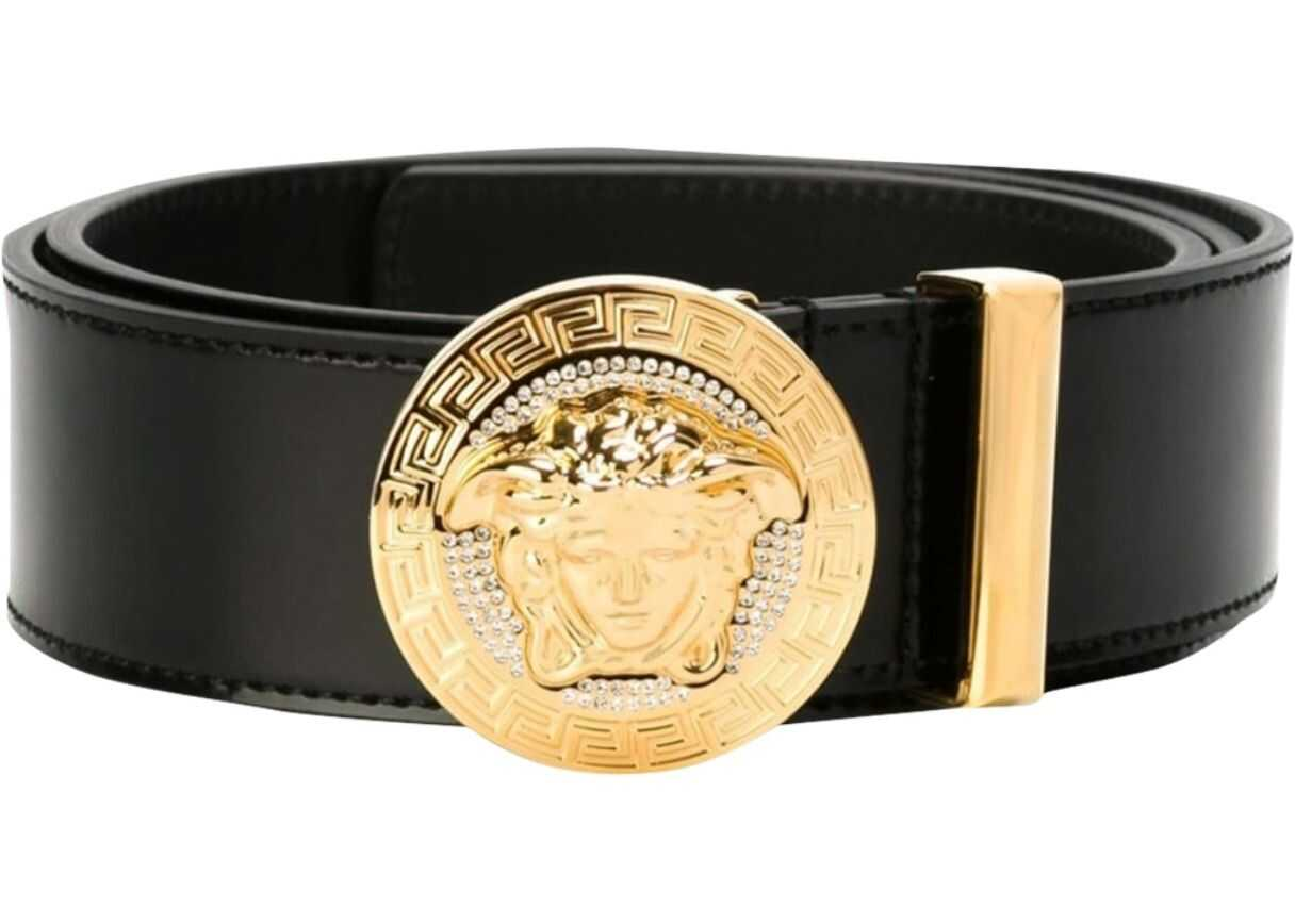 Versace Belt With Medusa And Crystals BLACK