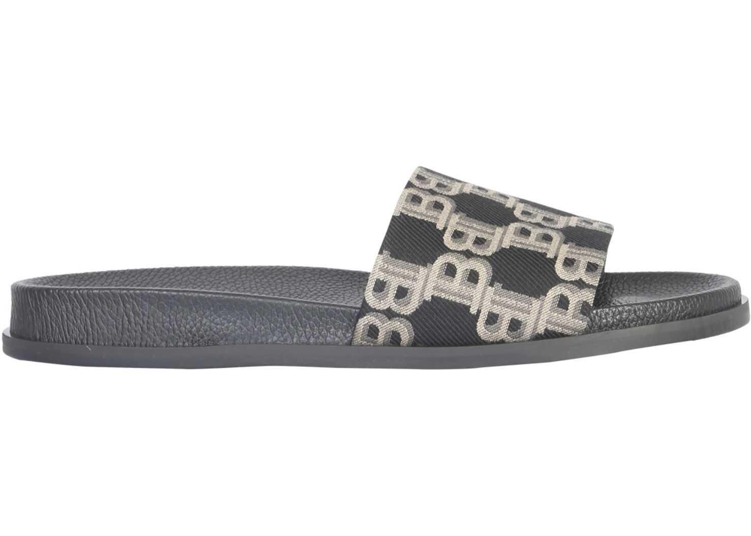 Balmain Slide Sandal With Logo BEIGE
