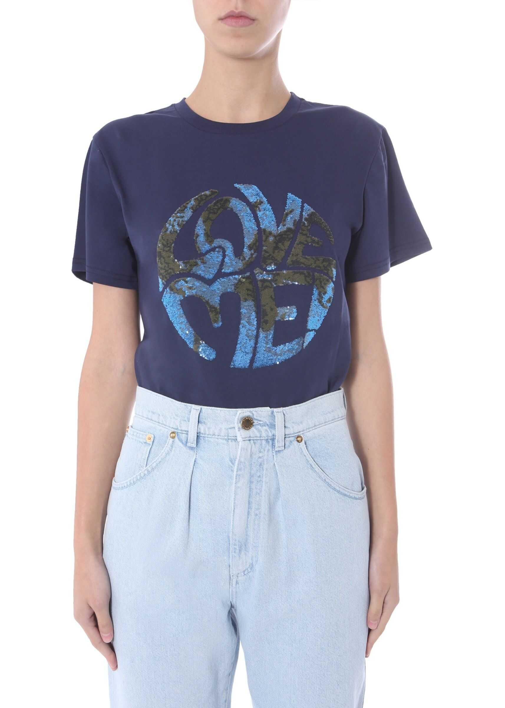 Alberta Ferretti Round Neck T-Shirt BLUE
