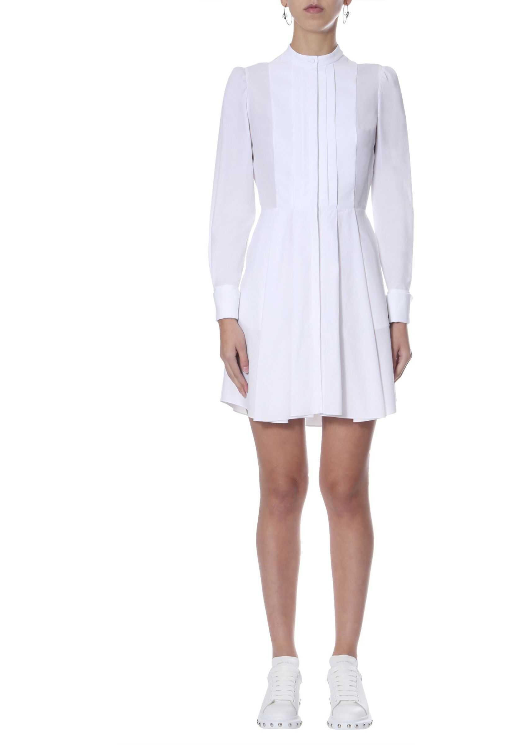 Alexander McQueen Short Cotton Poplin Dress WHITE