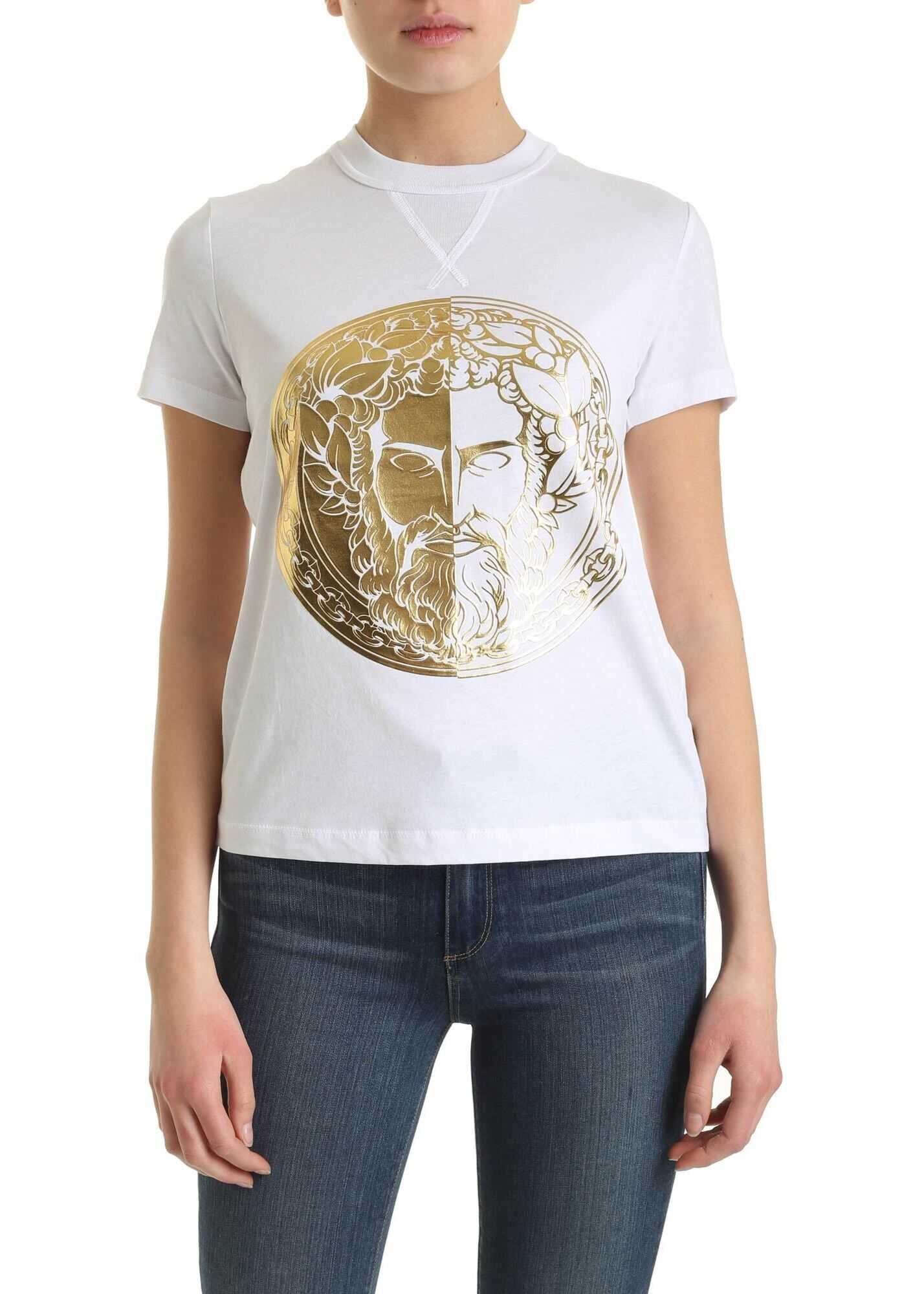 Versace Jeans Couture Golden Print T-Shirt In White White