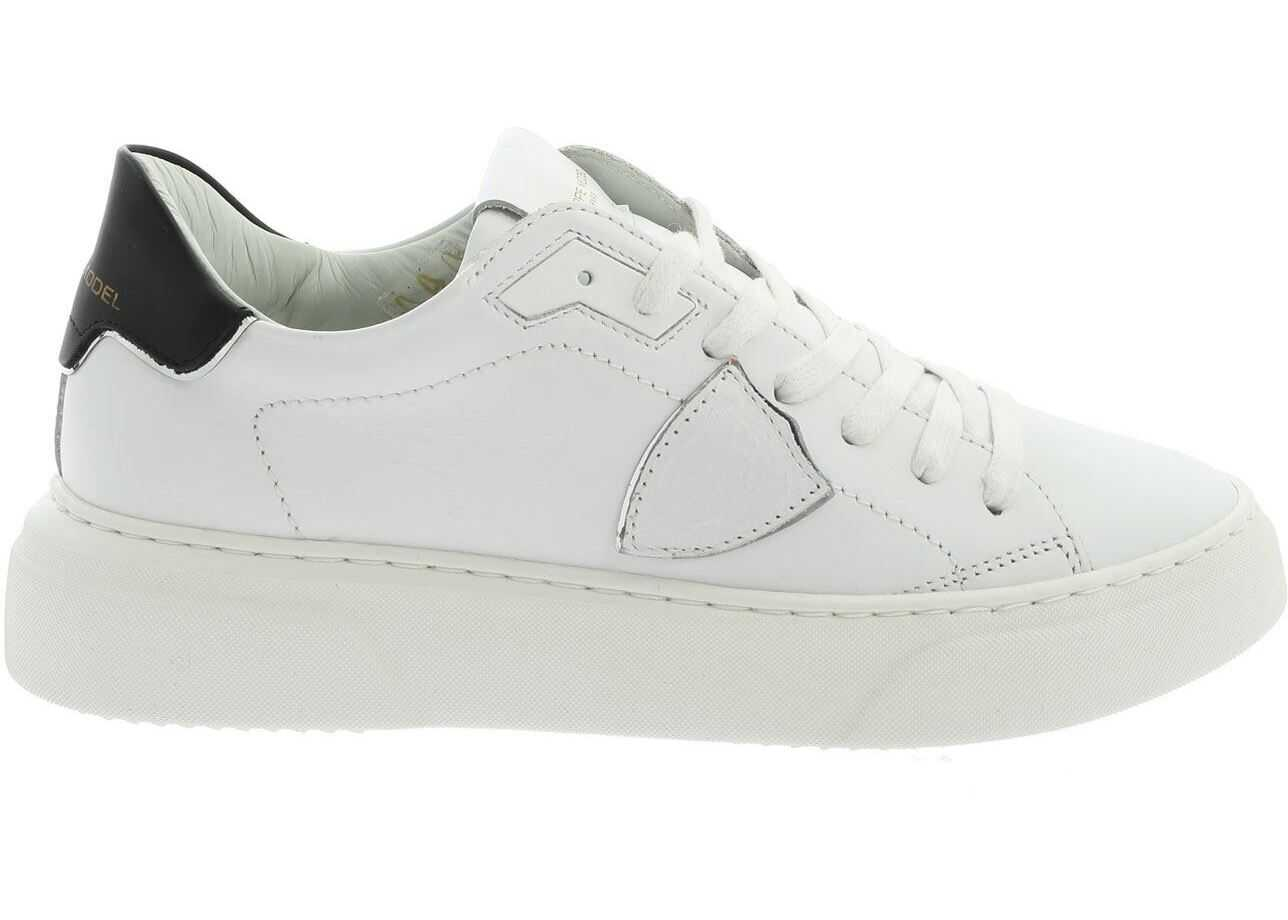 Philippe Model Temple Sneakers In White And Black White