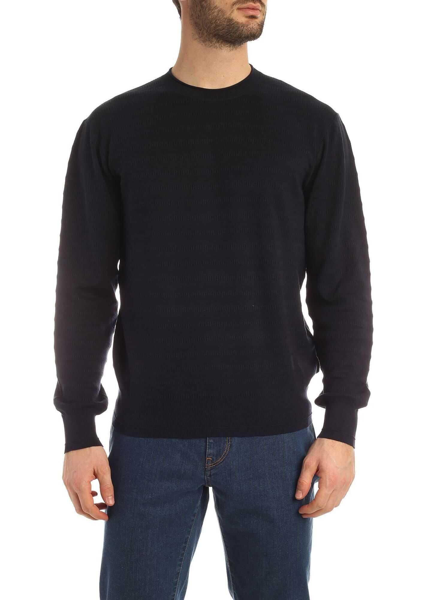 Z Zegna Crewneck Sweater In Blue Blue
