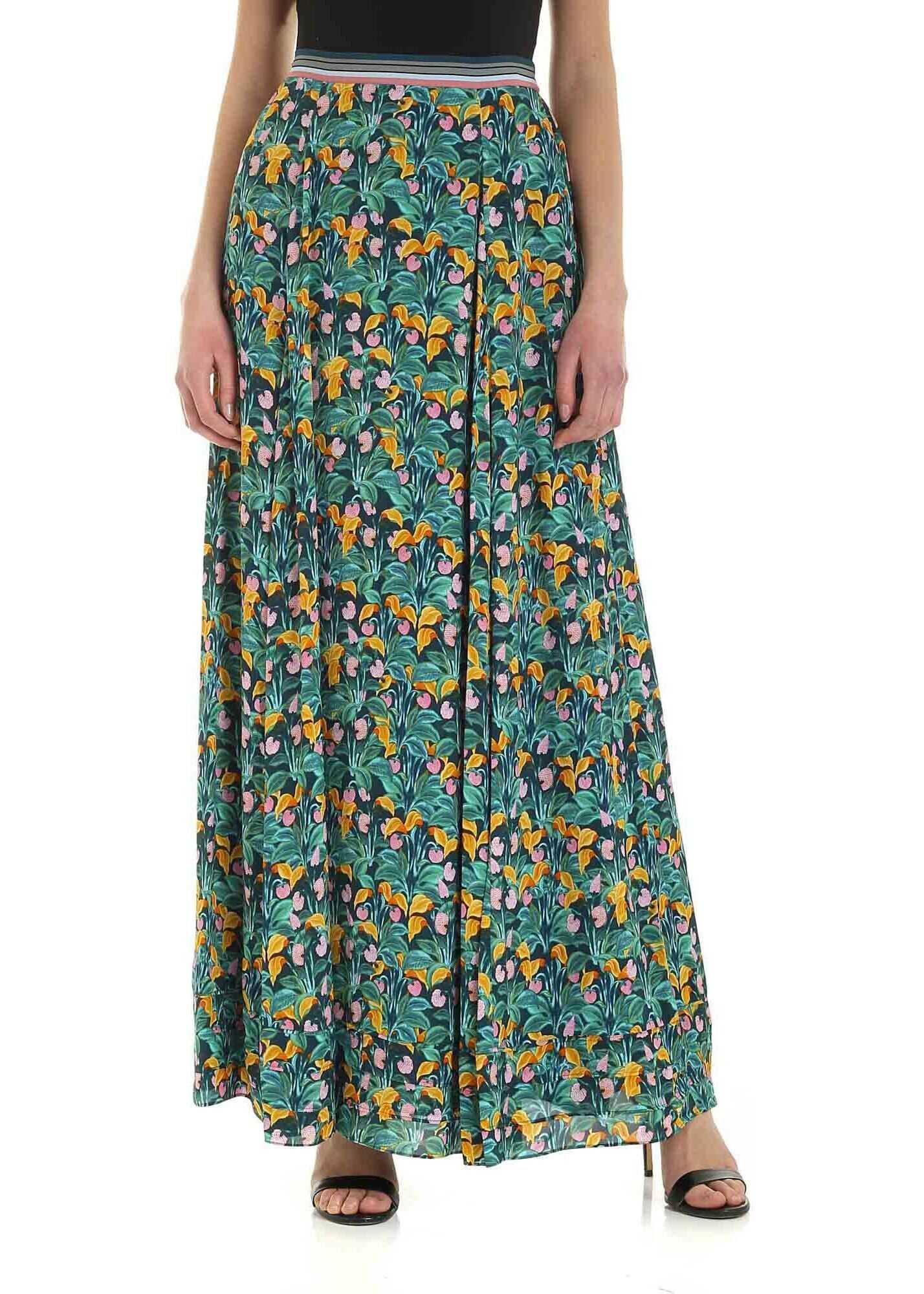 Diane von Furstenberg Heka Multicolor Long Skirt Green