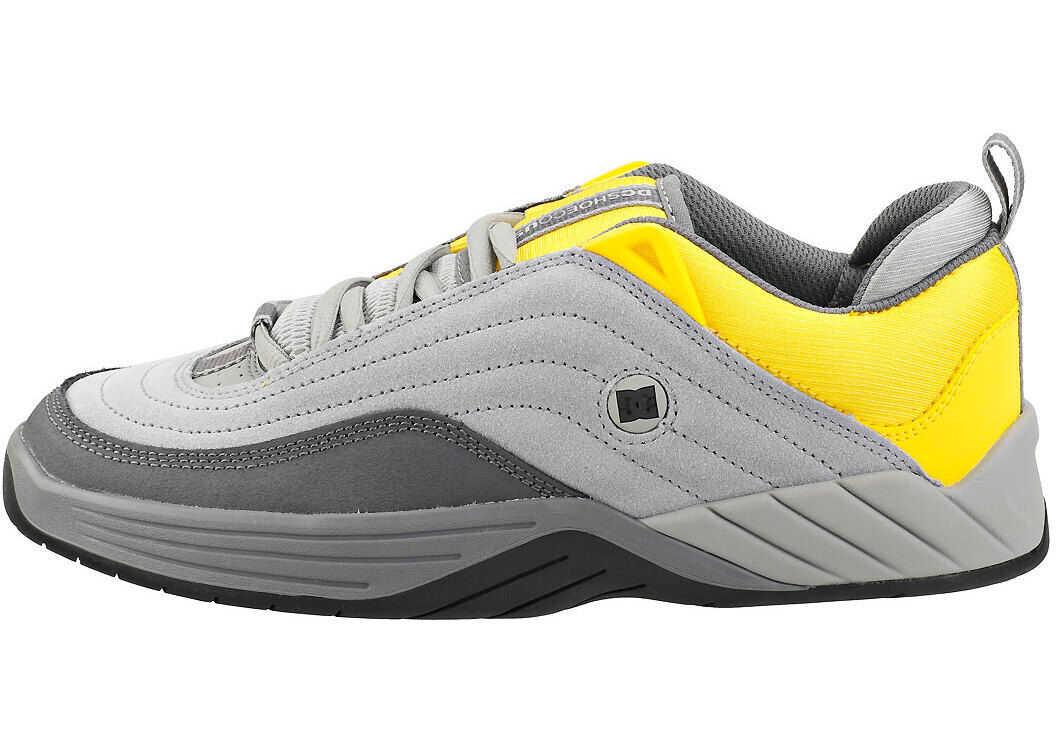 DC Williams Slim Skate Trainers In Grey Yellow Grey
