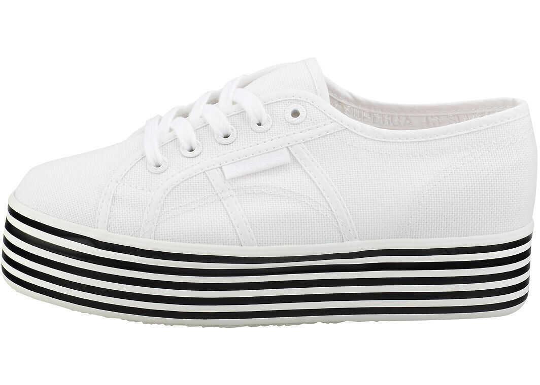 Superga 2790 Cotw Stripes Flatform Trainers In White Black White