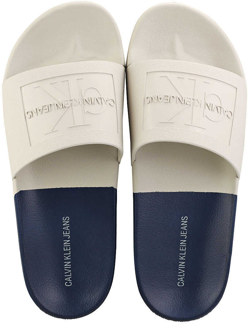 Calvin Klein Vielmo Pool Slide Sandals In Stone Navy Beige