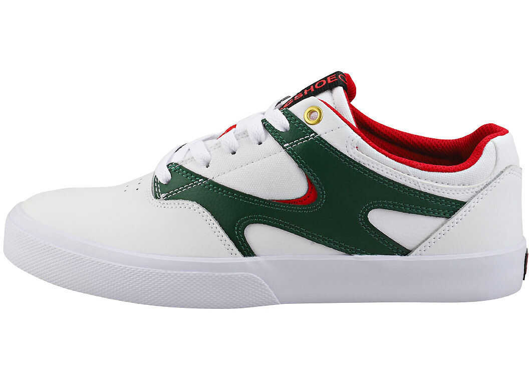 DC Kalis Vulc Skate Trainers In White Red White