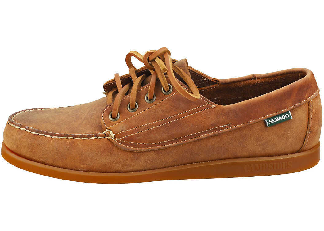 Askook Crazy Horse Boat Shoes In Brown Tan thumbnail