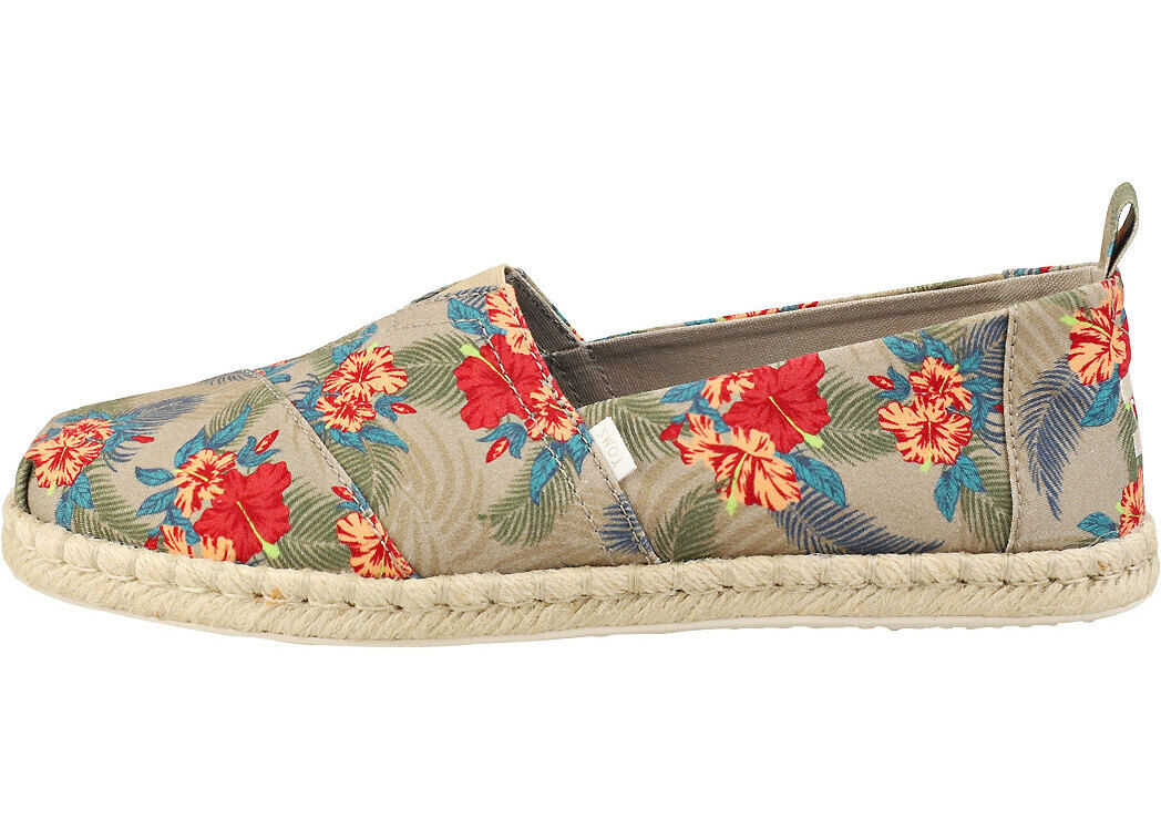 TOMS Classic Oxford Espadrille Shoes In Tan Multicolour Tan
