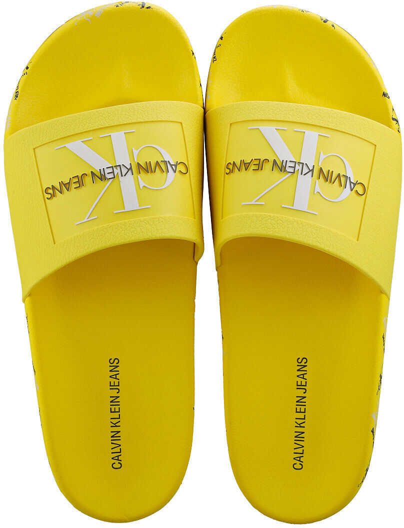 Calvin Klein Varen Slide Sandals In Yellow Yellow