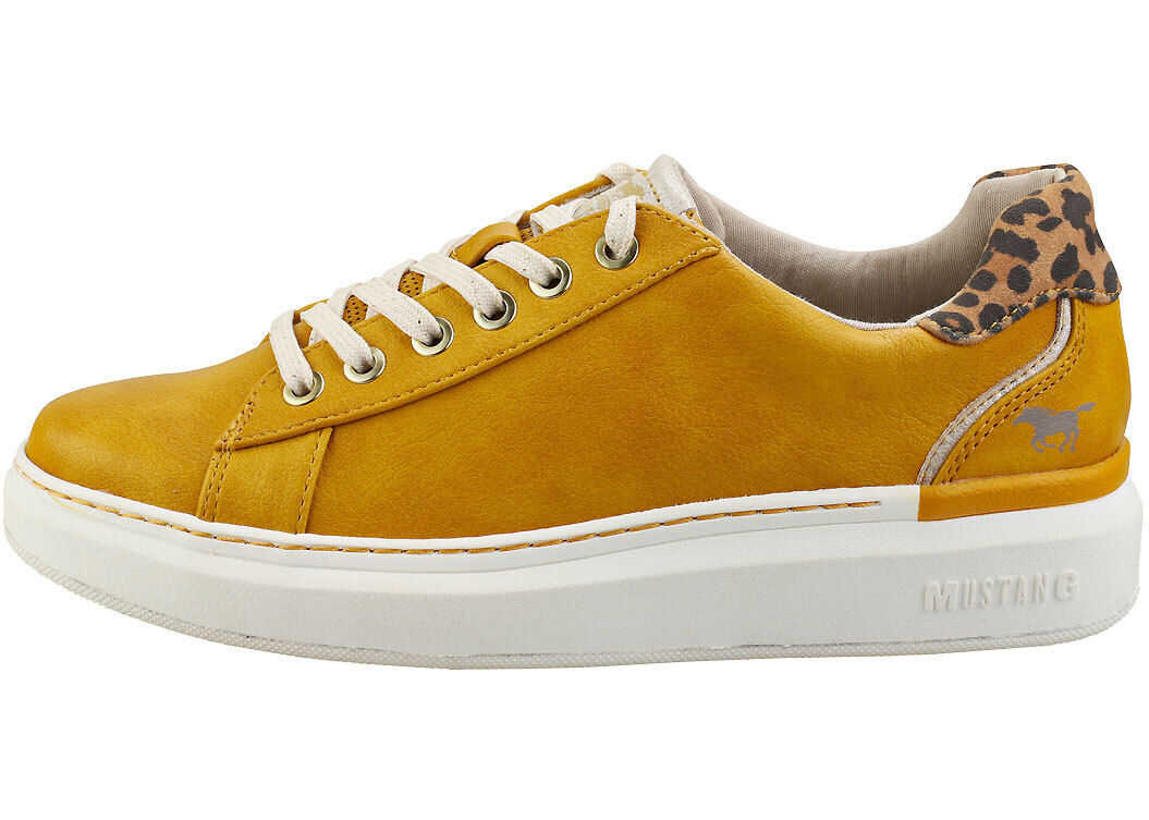 Mustang Lace Up Low Top Platform Trainers In Yellow Yellow