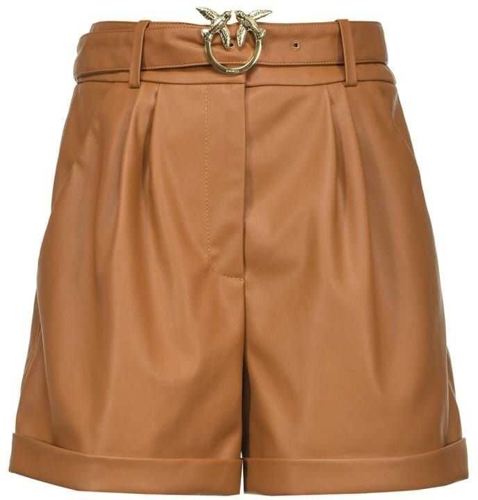 Pinko Leather Shorts BROWN