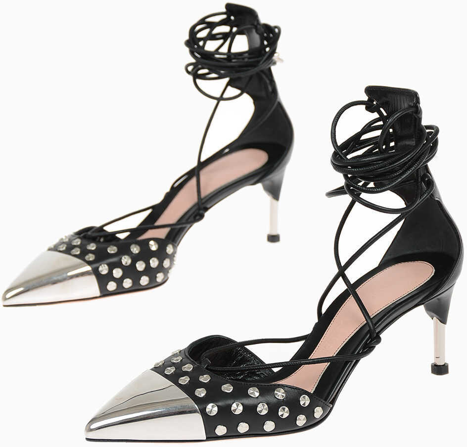 Alexander McQueen Lace Up Leather Pumps with Studs 6.5 cm BLACK