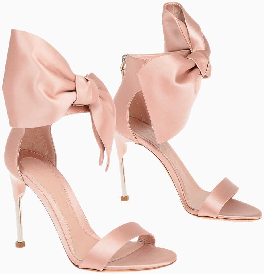 Alexander McQueen Satin Sandals with Bow Applied 11 cm PINK