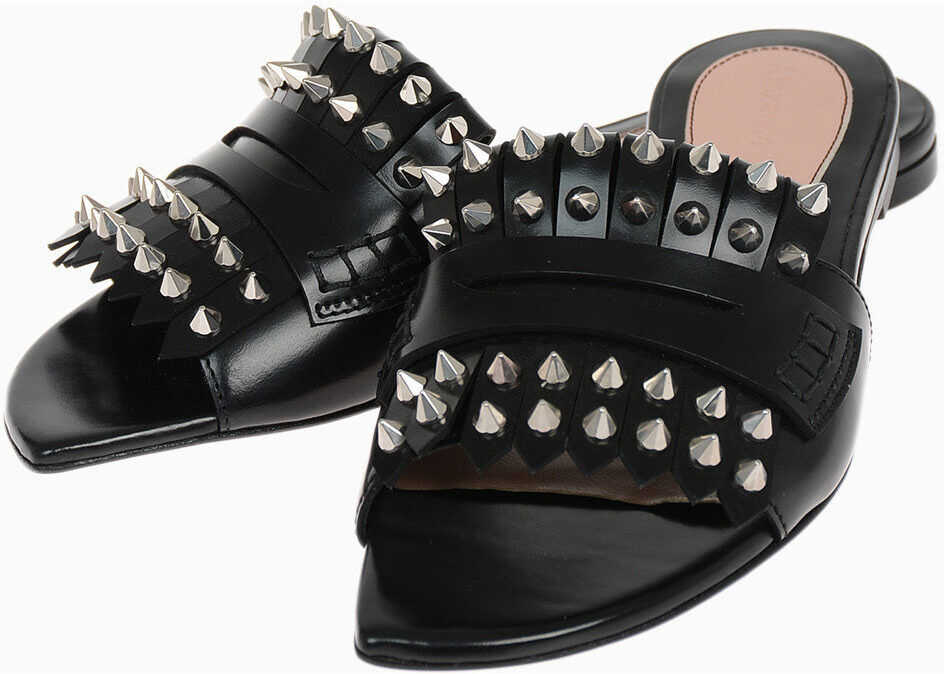 Alexander McQueen Leather Slippers with Studs BLACK