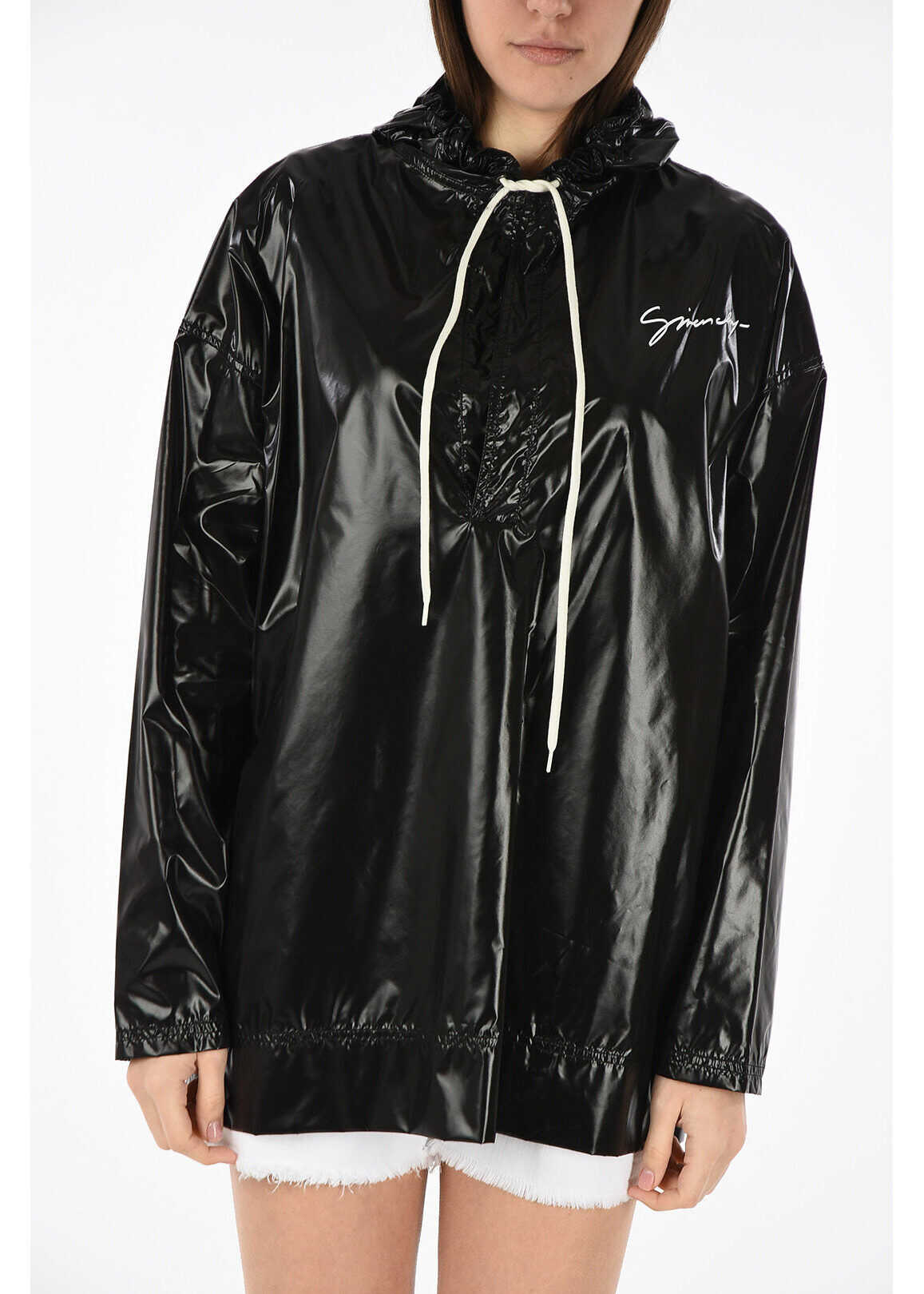Givenchy hooded raincoat outerwear BLACK