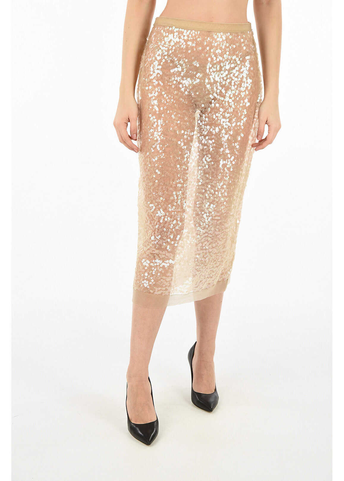 Miu Miu sequined pencil skirt BEIGE