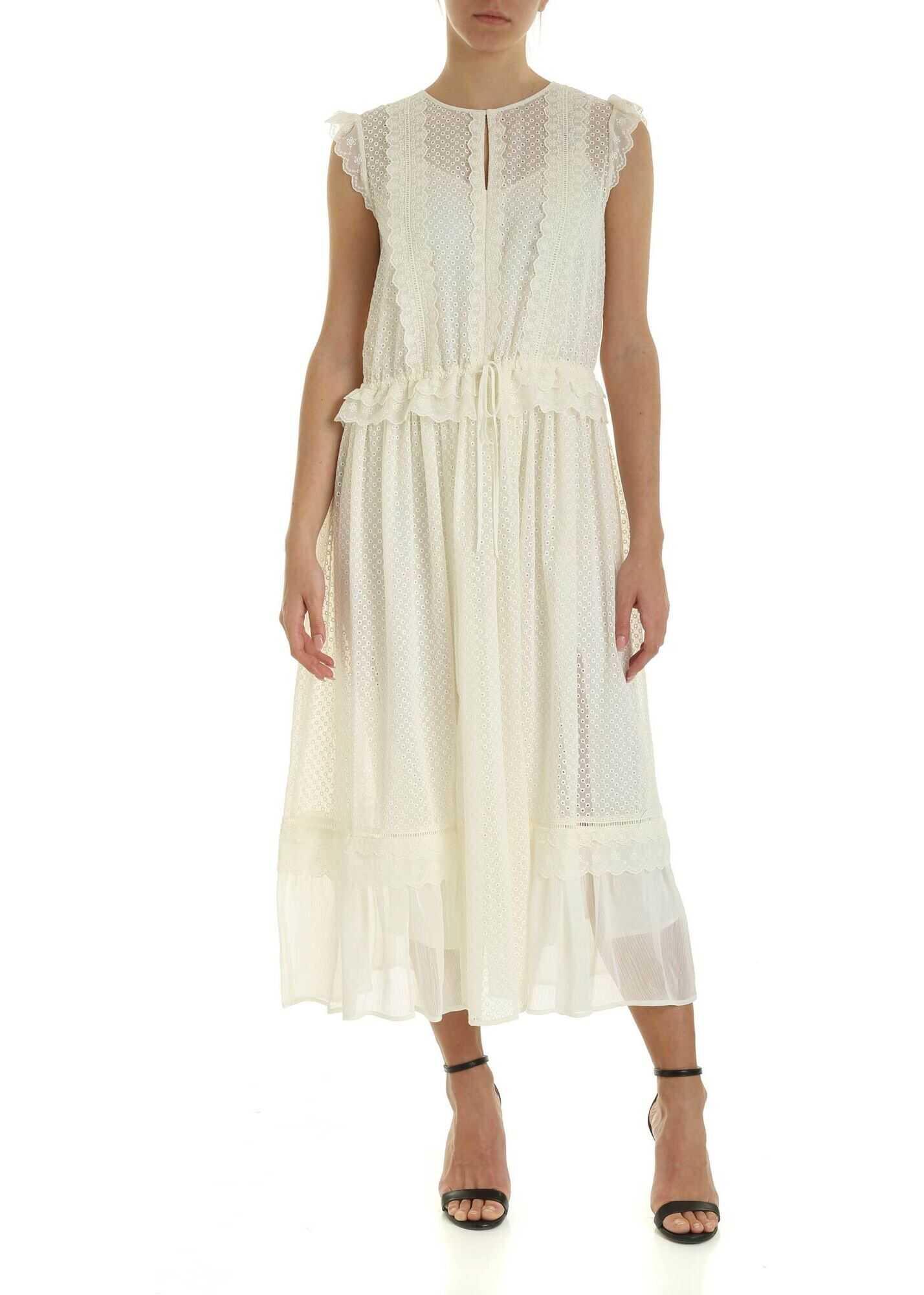 Twin-set Simona Barbieri Tone-On-Tone Embroidery Dress In Cream Color Cream