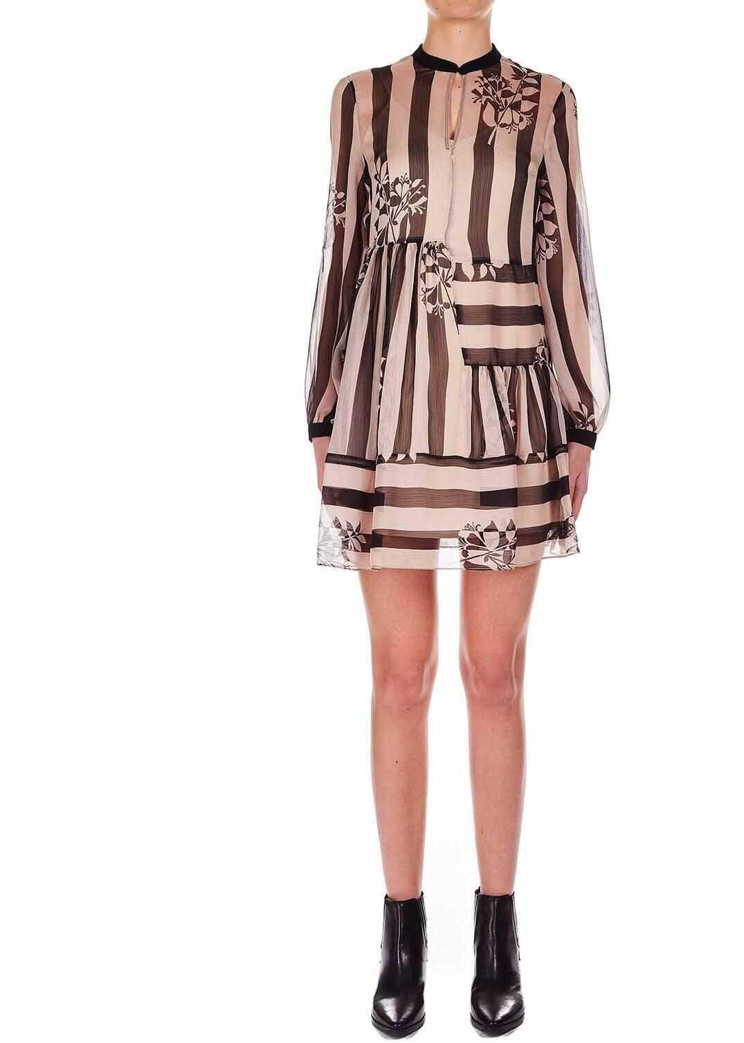 Twin-set Simona Barbieri Striped mini dress Nude