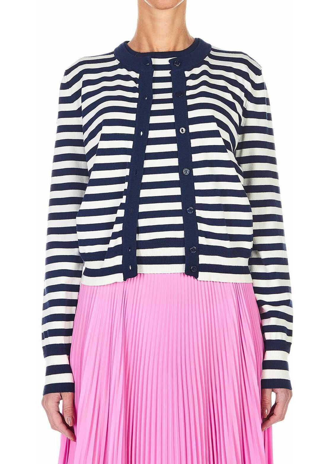 Twin-set Simona Barbieri A set of a striped slipover and cardigan Blue