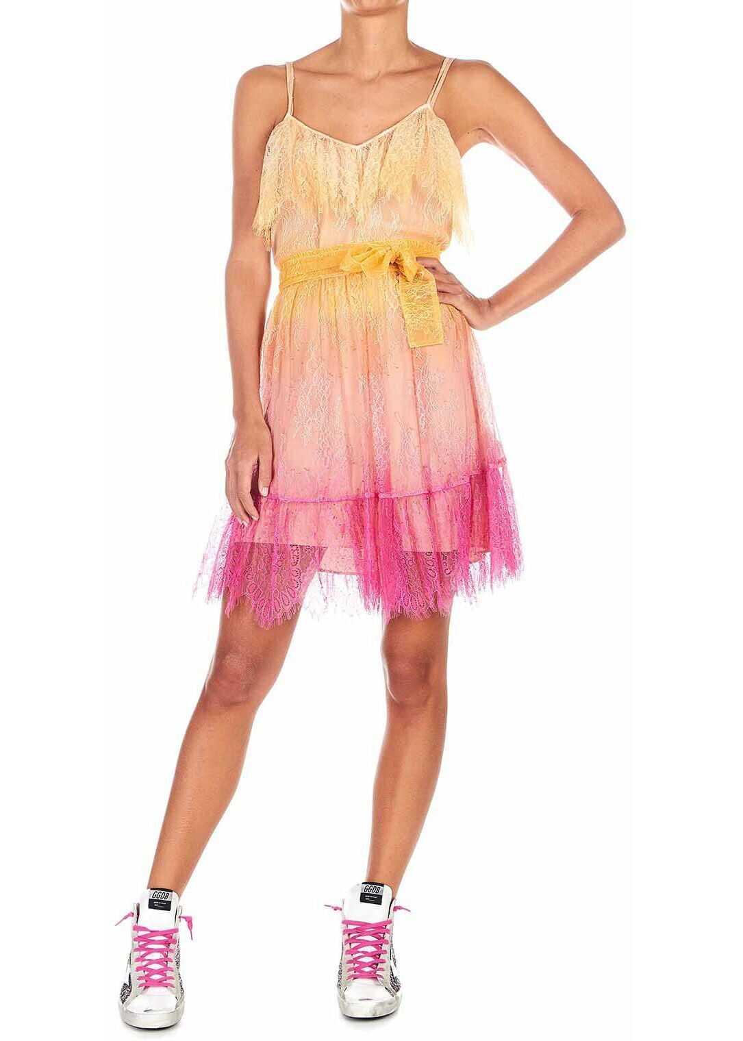 Twin-set Simona Barbieri Lace dress with color gradient effect Orange
