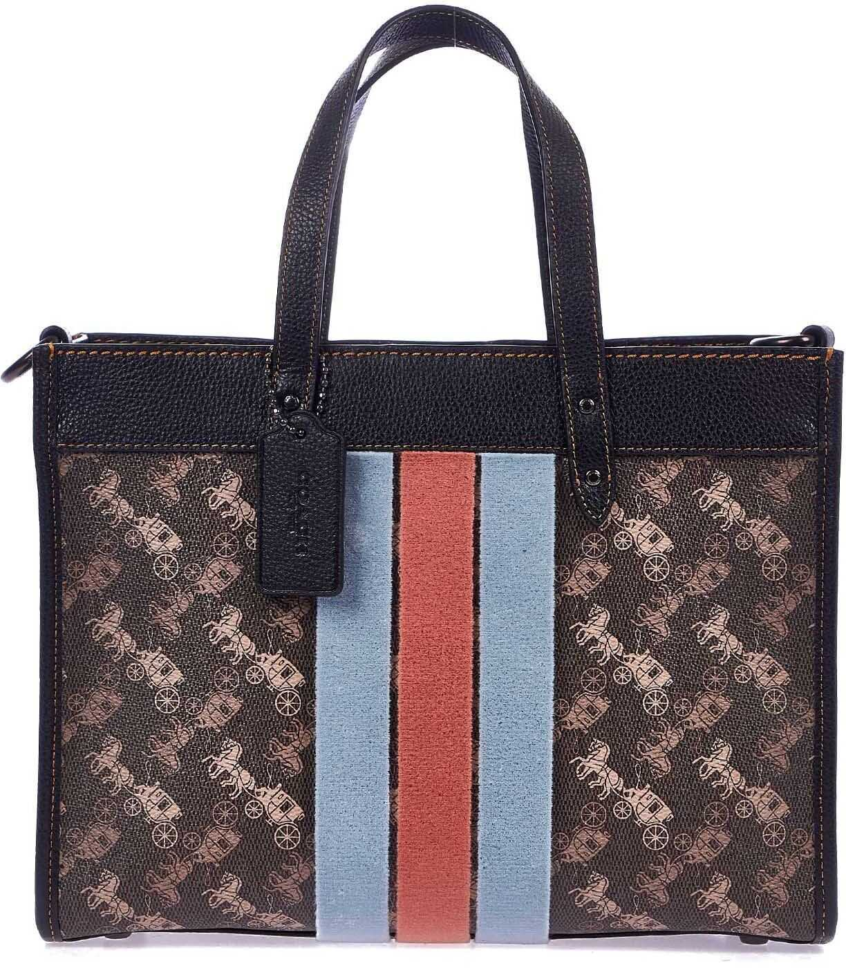 COACH Hand bag with velvet stripes Brown