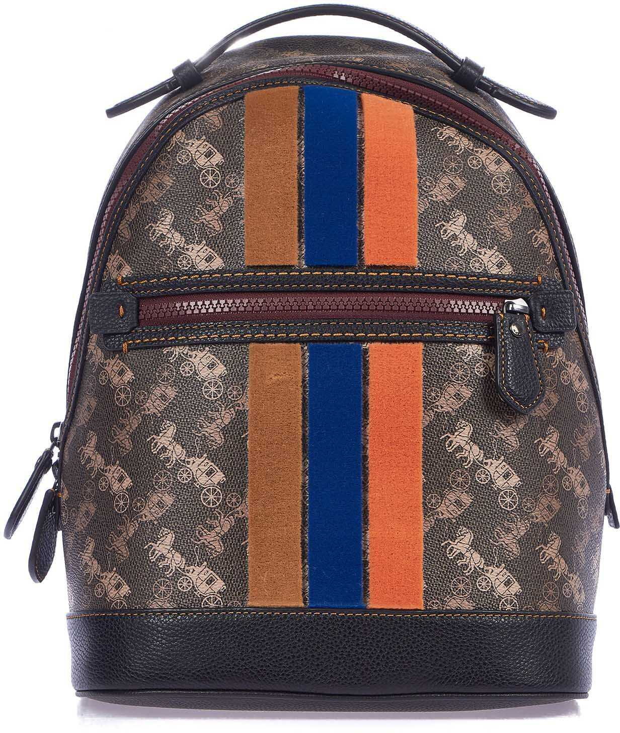 COACH Small backpack with velvet stripes Brown