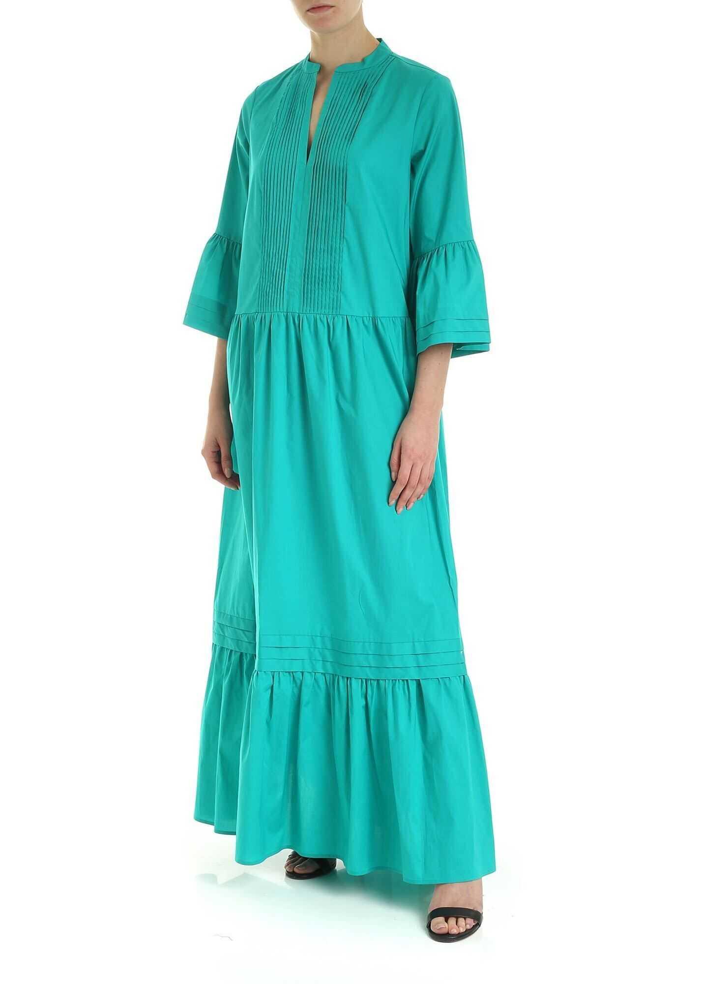 Twin-set Simona Barbieri Plastron Dress In Green Green
