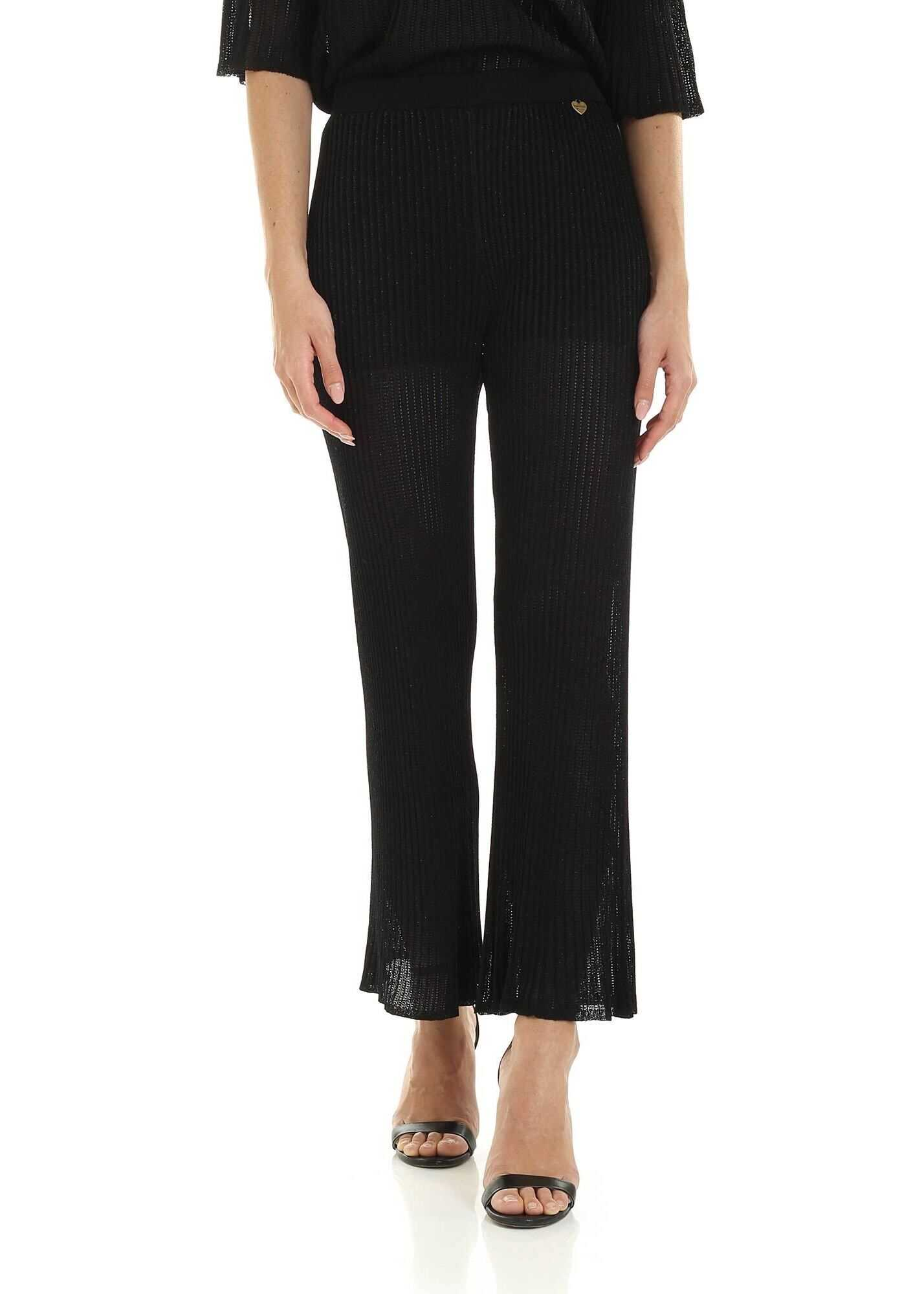 Twin-set Simona Barbieri Black Lamé Jersey Bootcut Pants Black