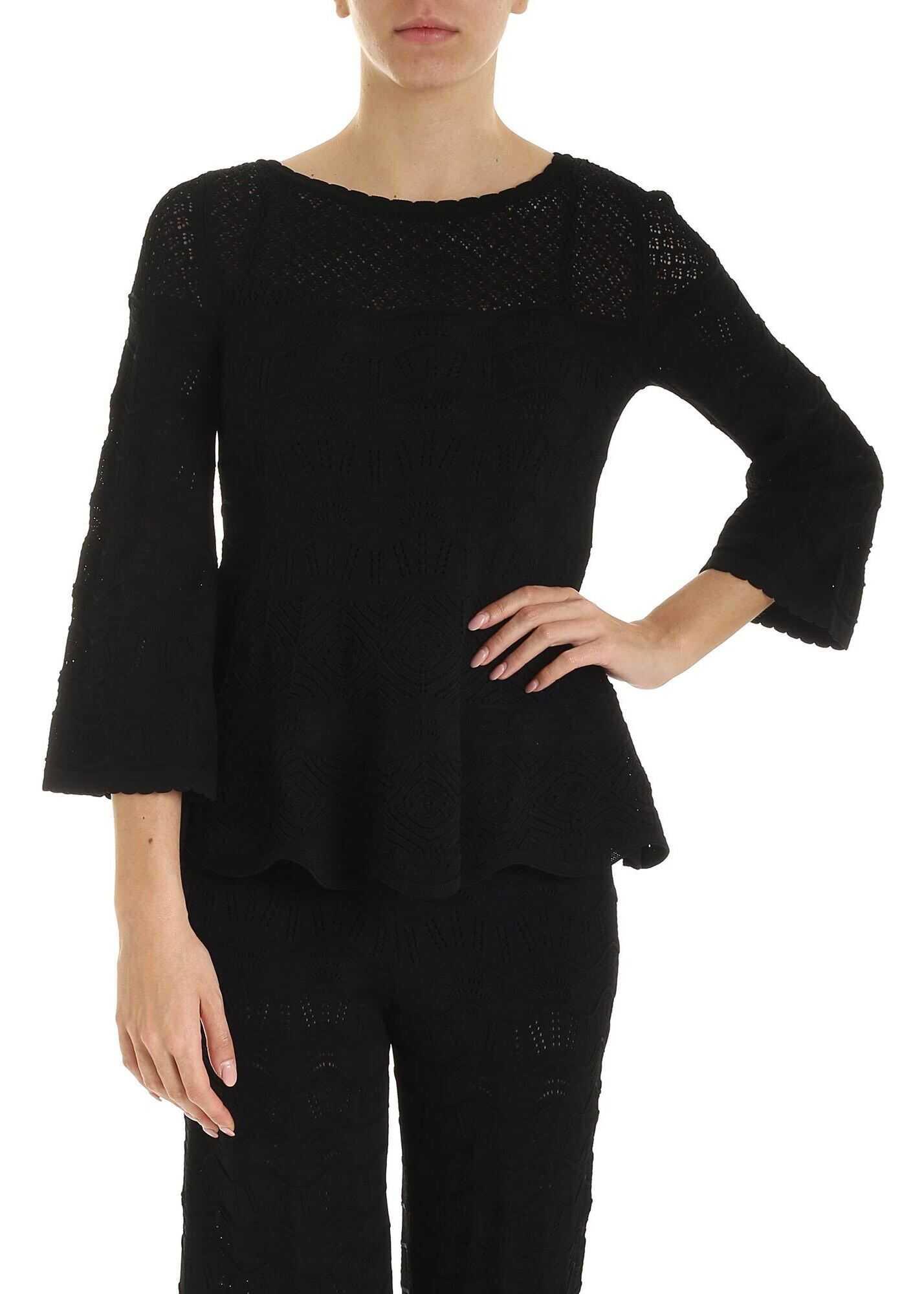 Twin-set Simona Barbieri Viscose Openwork Sweater In Black Black
