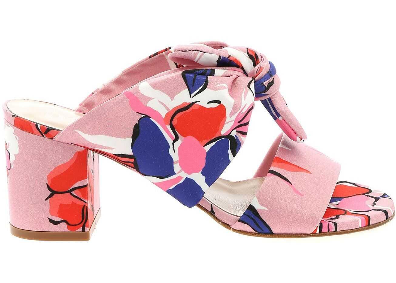 Be Blumarine Printed Satin Sandals In Pink Pink
