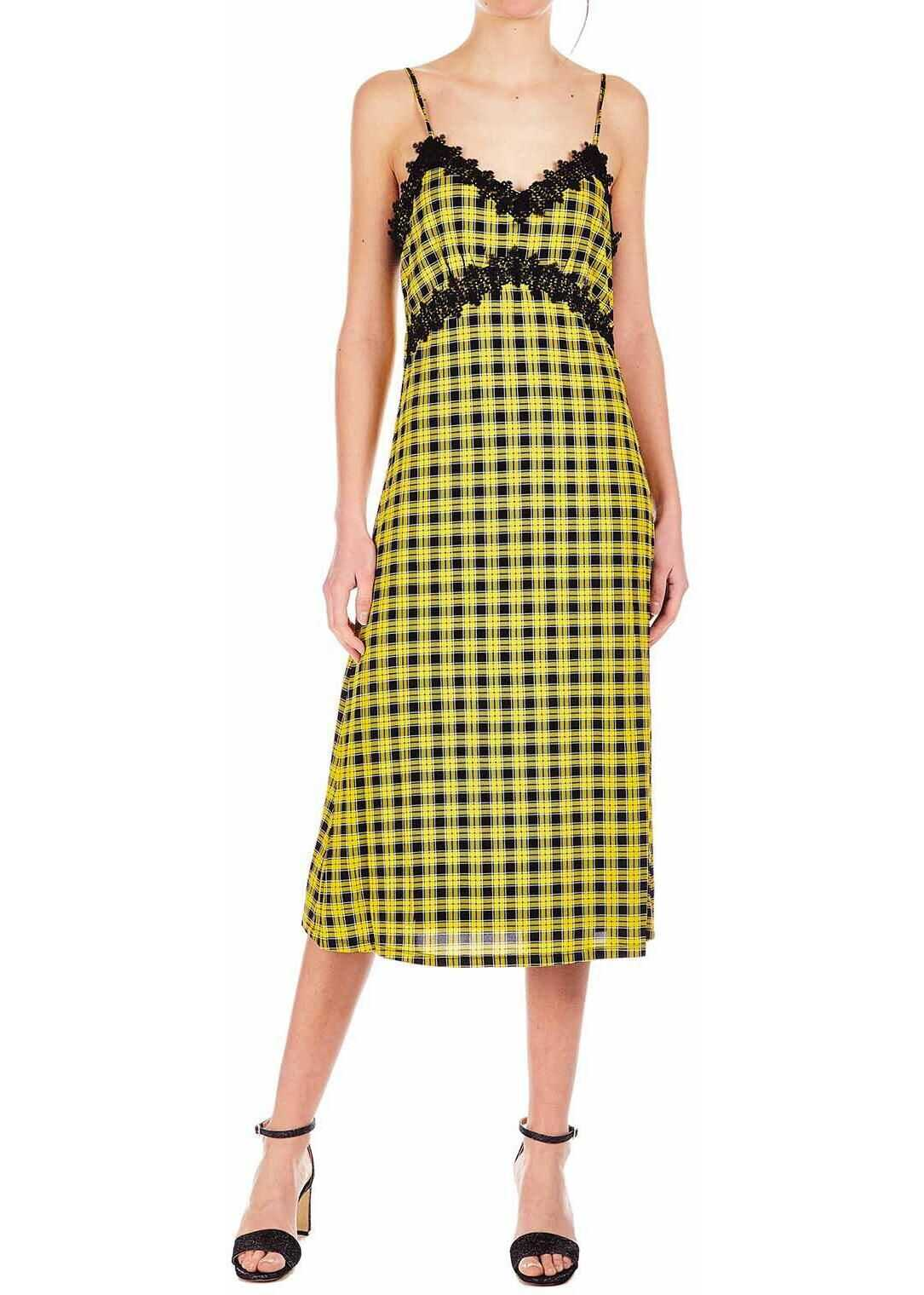 Michael Kors Strap dress with lace Yellow