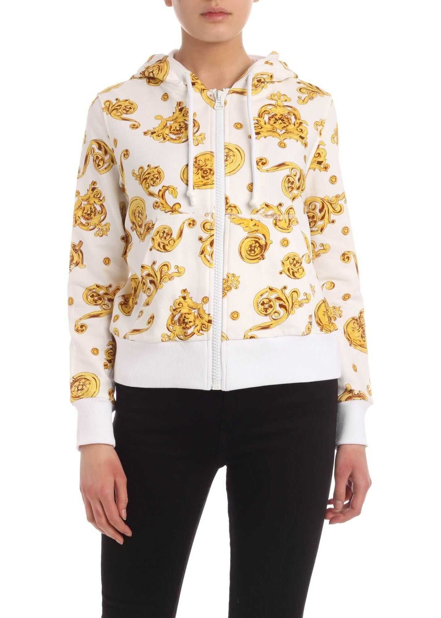 Versace Jeans Couture White Hoodie Crop With Barocco Print White