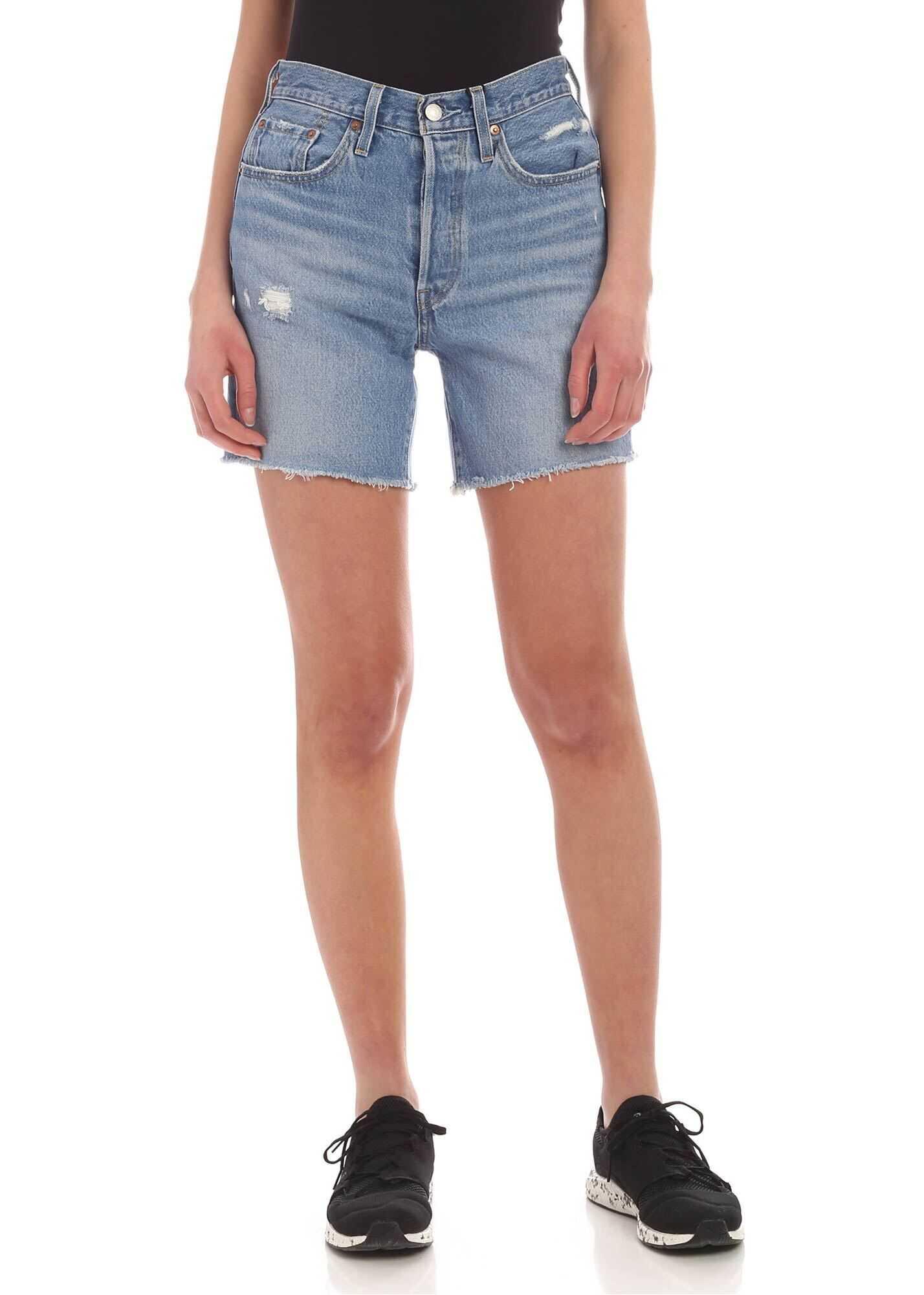 Levi`s® Mid Thigh 501® Denim Shorts In Light Blue Light Blue