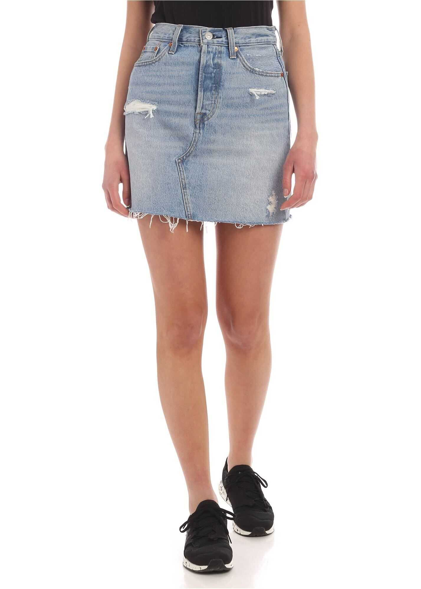 Deconstructured Mini Skirt In Light Blue Denim thumbnail