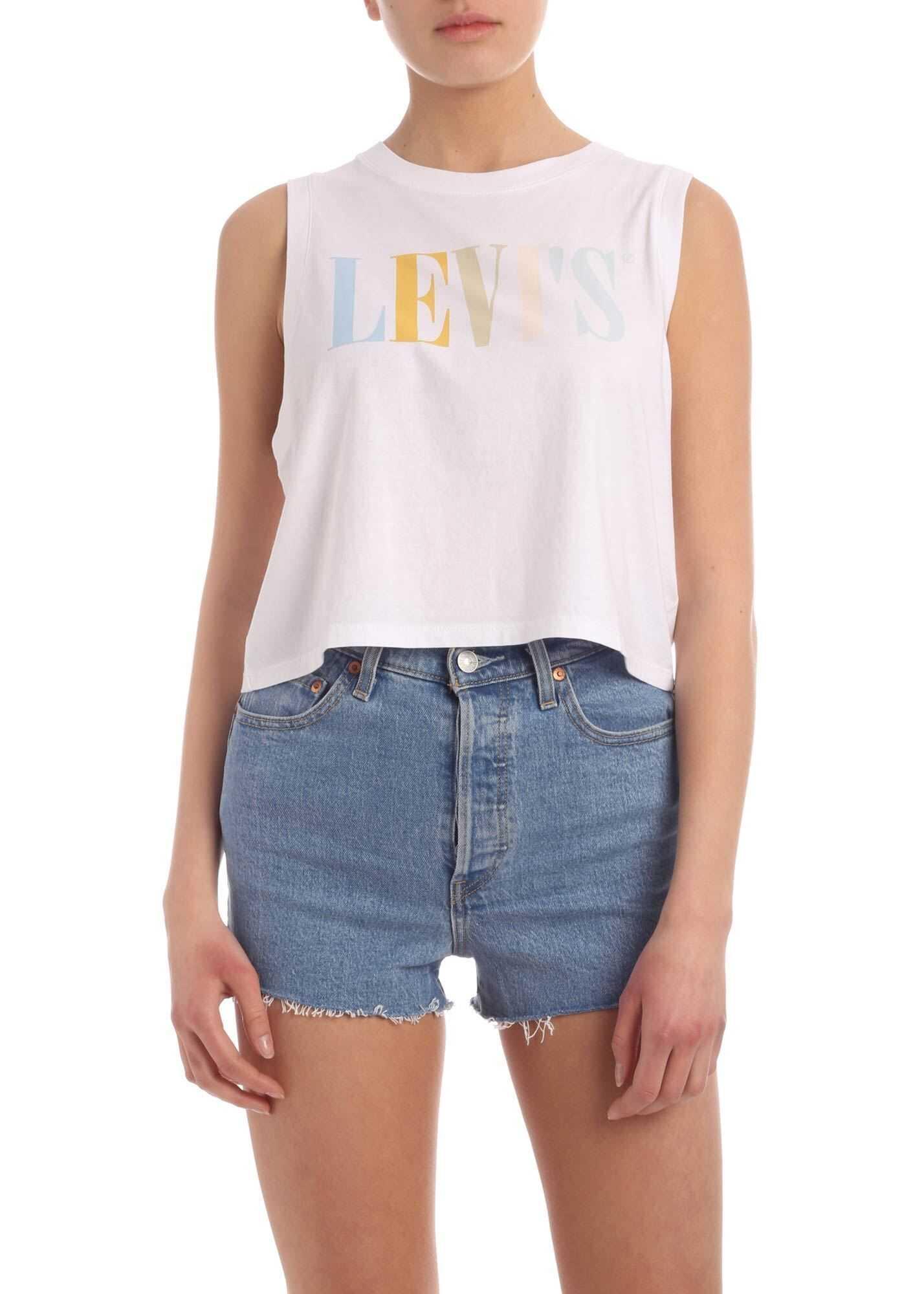 Levi`s® Multicolor Logo Print Crop Top In White White