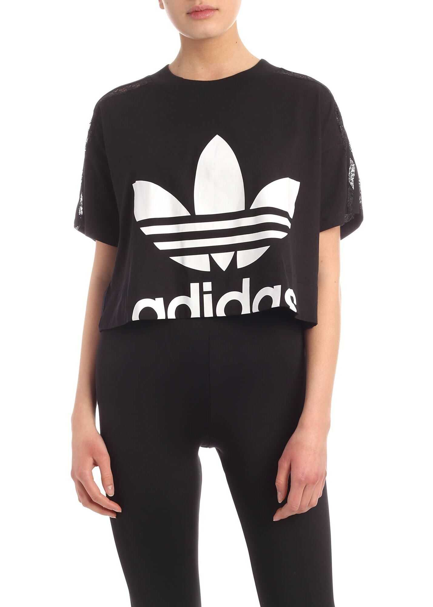 adidas Originals Cropped Black T-Shirt With Lace Details Black