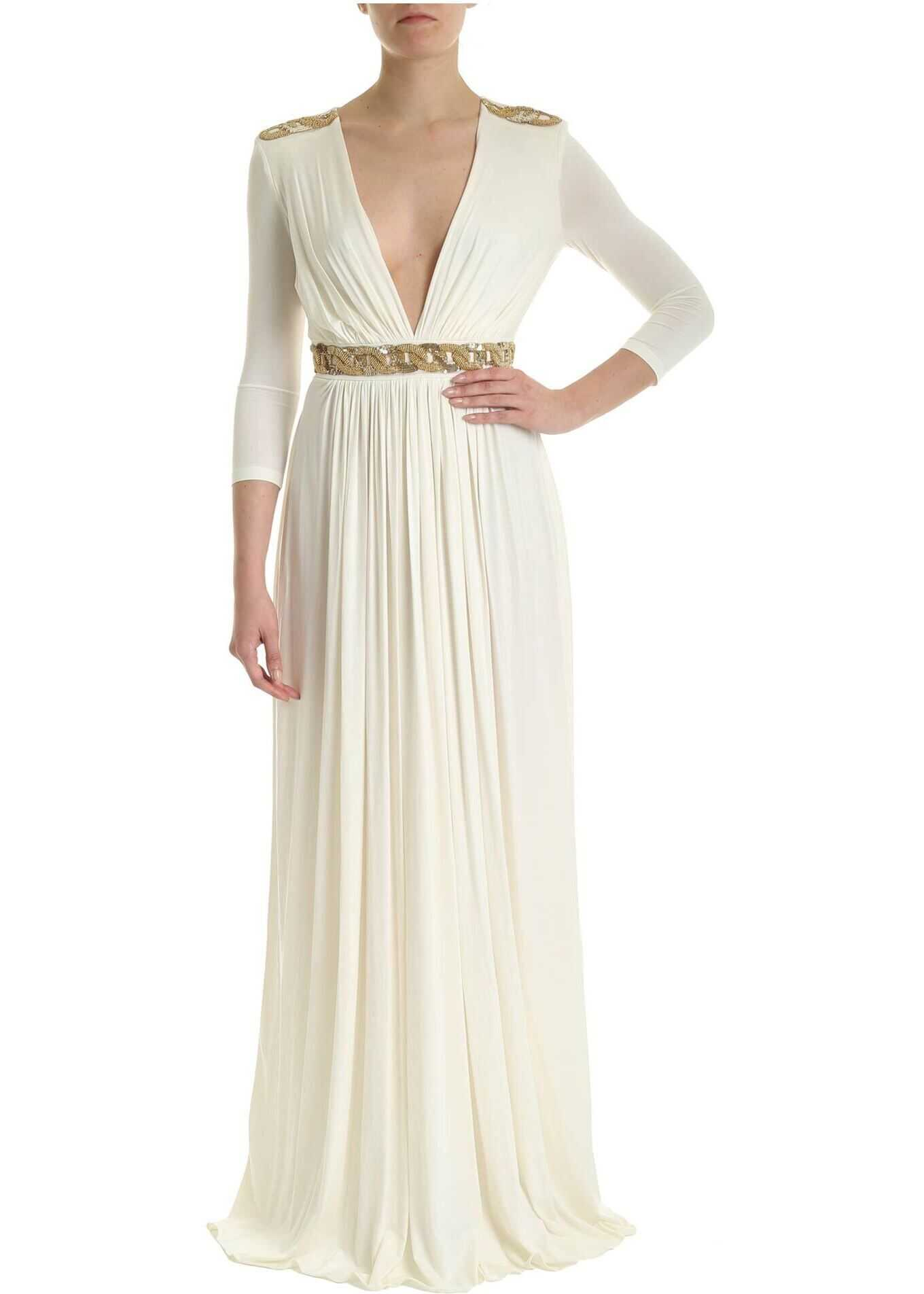 Elisabetta Franchi Embroidery Long Dress In Ivory Color White