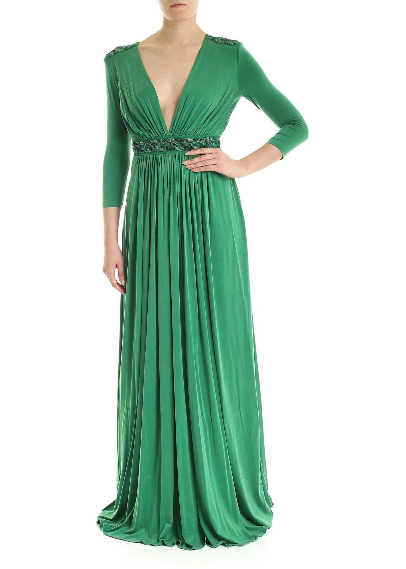 Elisabetta Franchi Embroidery Long Dress In Green Green