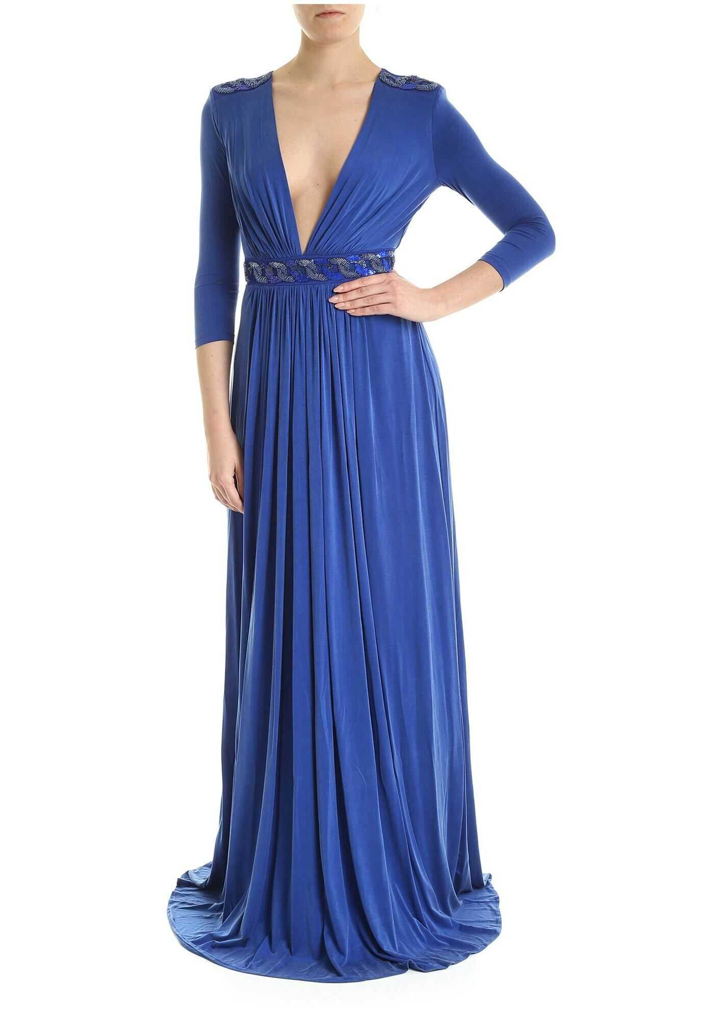 Elisabetta Franchi Embroidery Long Dress In Cobalt Blue Blue