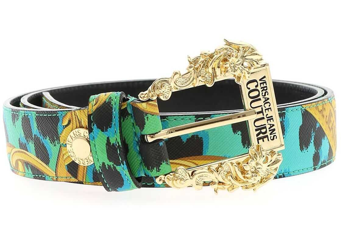 Versace Jeans Couture Leo Chain Leather Belt In Aquamarine Color Green